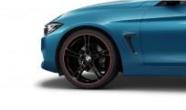 """Koła kompletne zimowe 36112287892 BMW serii 4 F32 20"""" aluminiowe obręcze Double-spoke 361 czarne połysk z czerwonym rantem"""