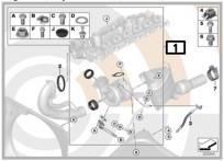 Zestaw montażowy: turbosprężarka F01N, F02N, F07, F07N, F10, F10N, F11, F11N, F25, F26 6-cylinder Diesel 11652457367